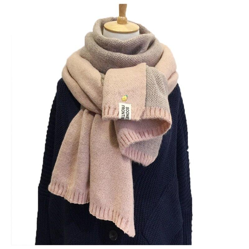 2019 nova senhora cachecol abacaxi lã malha cachecol inverno quente macio dupla face bufandas cachecol algodão cachecóis para mulher