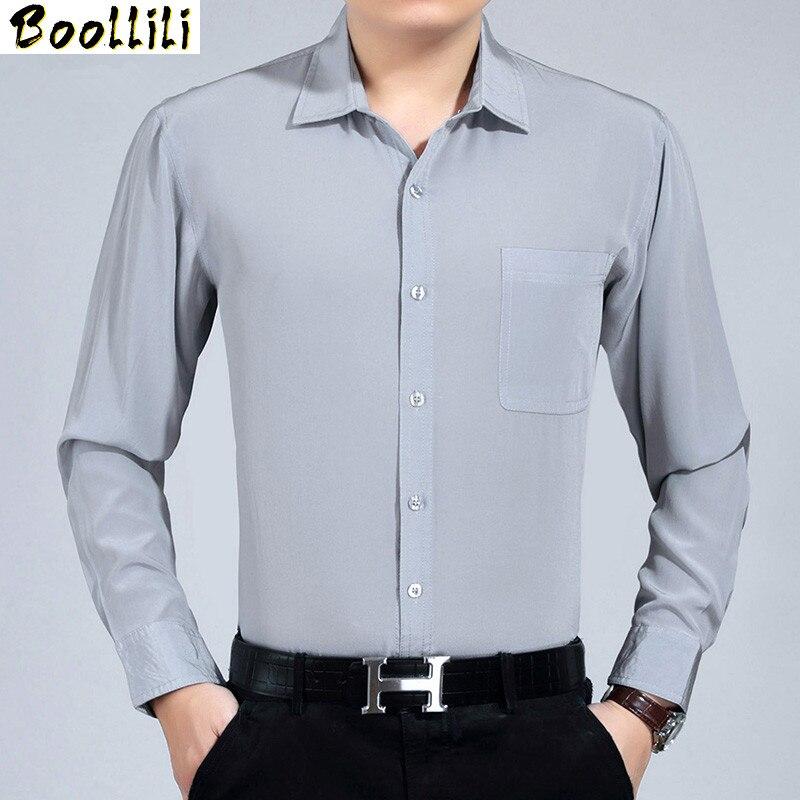 Boollili 100% Silk Summer Men Shirt White Black Long Sleeve Shirt Formal Mens Dress Shirts Plus Size Camisa Hombre