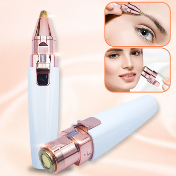2 in 1 Electric Eyebrow Trimmer Painless Eye Brow Epilator For Women Makeup Mini Razors Portable Facial Hair Removal Shaver 1
