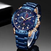 New 2020 LIGE Fashion Blue Stainless Steel Mens Watches Top Brand Luxury Waterproof Quartz Watch Men Date Dial Sport Chronograph