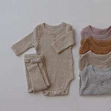 Nowonarodzone zestawy ubrań dla niemowląt prążkowane bawełniane ubranko + leginsy garnitur dla jesiennych dziewcząt stroje chłopięce z długim rękawem zestaw ubrań tanie tanio Facejoyous COTTON W wieku 0-6m 7-12m 13-24m CN (pochodzenie) Wiosna i jesień Dziecko dla obu płci moda Z okrągłym kołnierzykiem