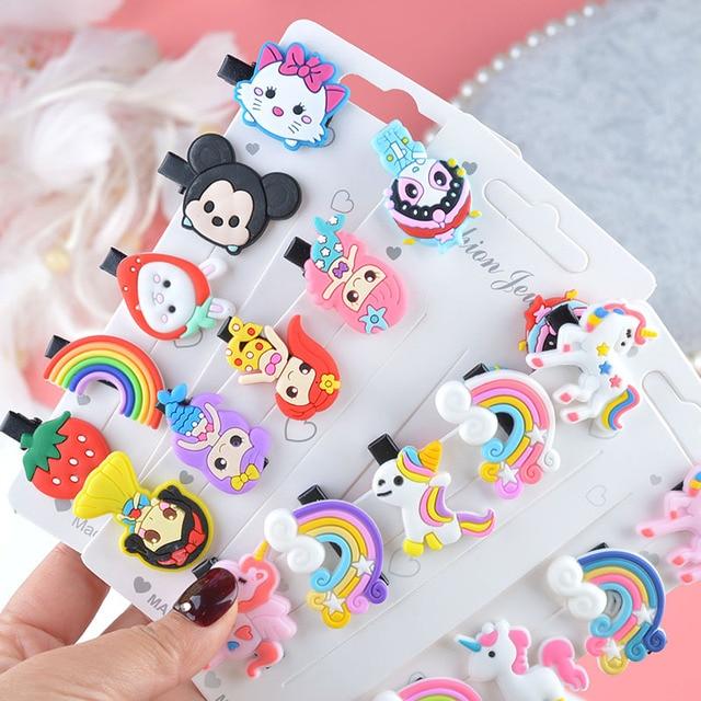 10PCS/Set New Girls Cute Cartoon Ice Cream Unicorn Hair Clips Kids Lovely Hairpins Headband Barrettes Fashion Hair Accessories 1