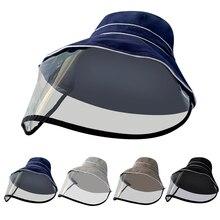 SAGACE Anti-spitting Protective Bucket Hat Coronary Virus Caps Anti-spitting Hat Anti-saliva Cap With Clear Mask Hat A10