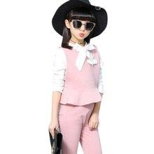 여자 옷 세트 봄 가을 셔츠 + 조끼 + 바지 3 PCS 정장 10 14 12 년 여자 면화 아이 여자 학교 옷