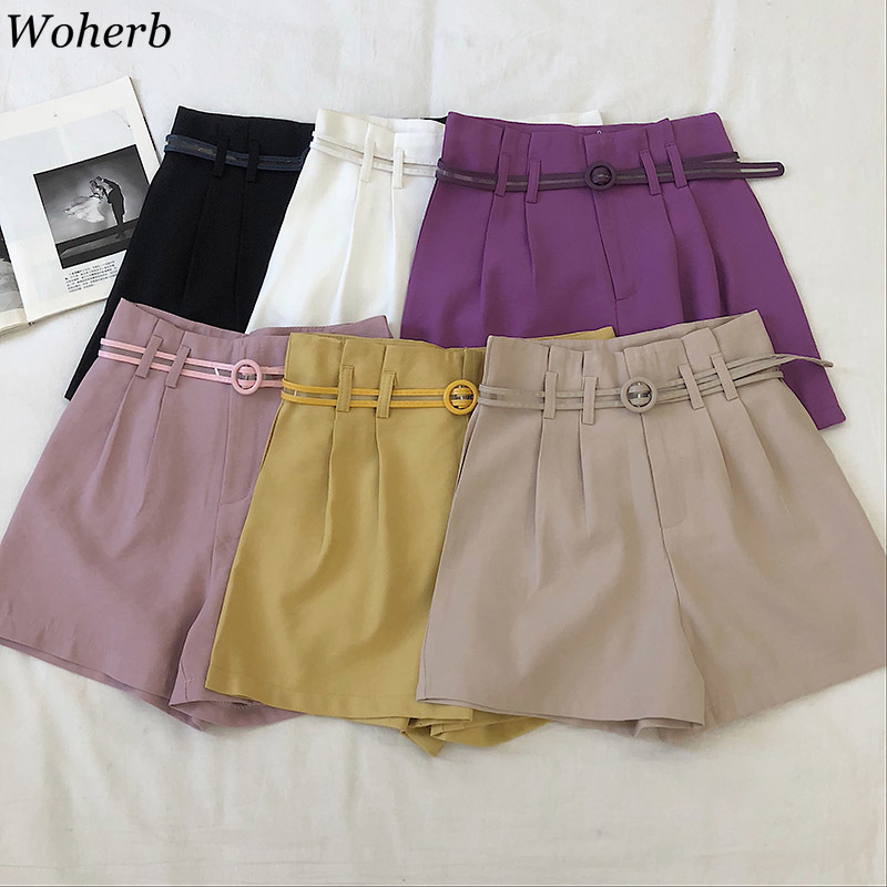 Woherb High Waist Wide Leg Women's Shorts Vintage Sashes Solid Ladies Shorts 2020 Summer Fashion NEW Casual Clothes
