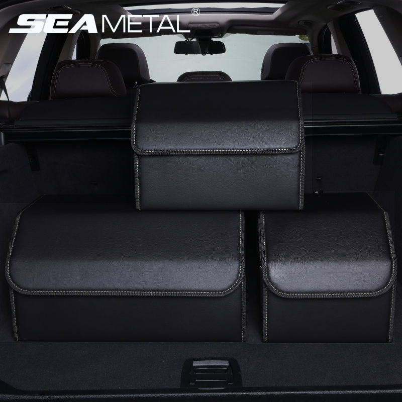 Organizador de maletero de coche caja de almacenamiento PU cuero Auto bolso organizador plegable bolsillos de almacenamiento de maletero para vehículo sedán SUV Accesorios