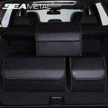 รถ Trunk Organizer กล่องเก็บหนัง PU Auto Organizer กระเป๋าพับเก็บกระเป๋าสำหรับรถซีดาน SUV อุปกรณ์เสริม