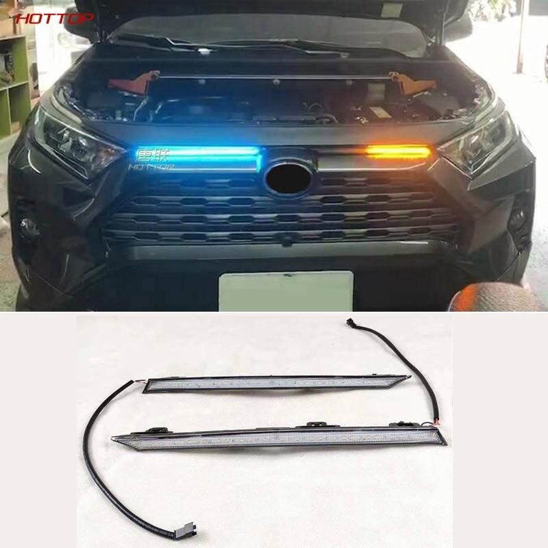 For Toyota RAV4 2019 2020 Yellow Turn Signal Function 1 2V Car DRL LED Daytime Running Light Automobile Cover Decoration Light