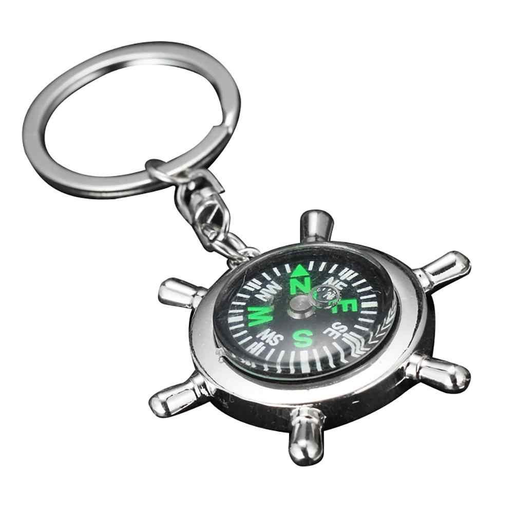 Mini Tragbare Zink-legierung Schiff Helm Navigation Kompass Keychain Anhänger Geschenk