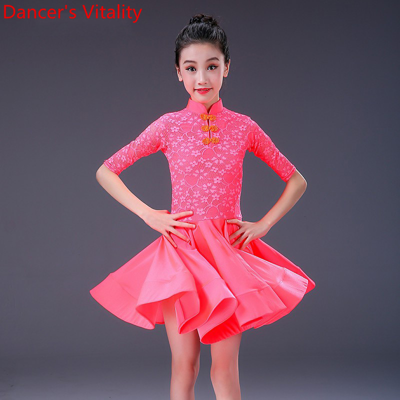 Latin Dance Wear Kids Practice Training Suit Rumba Cha Cha Salsa Dancing Performance Costume Breathable Lace Splicing Dress