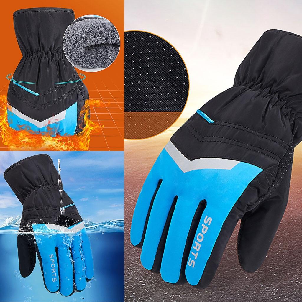 Men/'s Ski Snowboard Snow Sports Gloves Thermal Waterproof Windproof Blue L