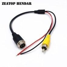 Cable de alimentación macho de aviación M12, 5 uds., 4 pines, RCA macho + rojo negro, adaptador AV para cámara CCTV, Cable de micrófono DVR de seguridad