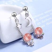 2019 New Arrival 925 Sterling Silver Tassel Chain Earrings for Women Fashion Korean Moon Star Pink Crystal Earring Party Jewelry