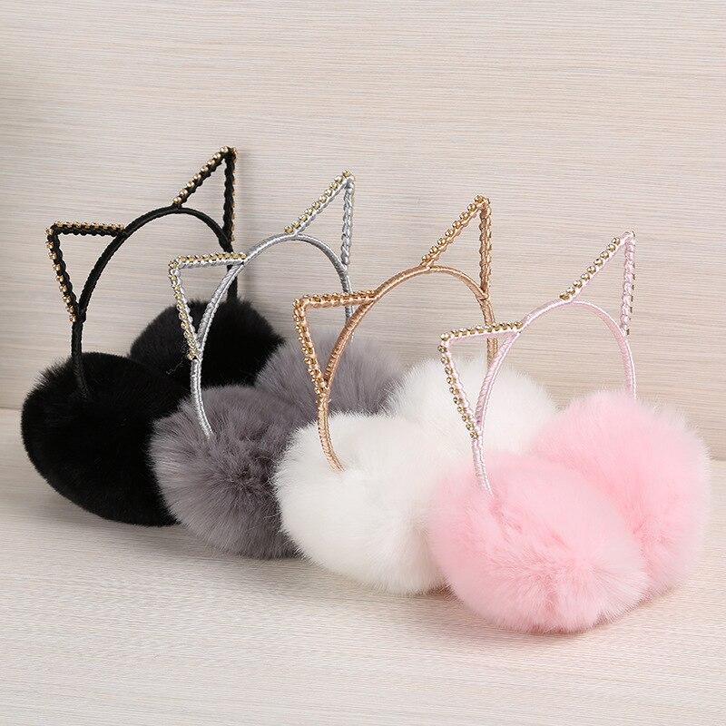 New Arrive Lovely Cat Fur Winter Earmuffs Ear Cache Warmers Winter Comfort Earmuffs Warm Winter Earmuffs Women Girls Headwear
