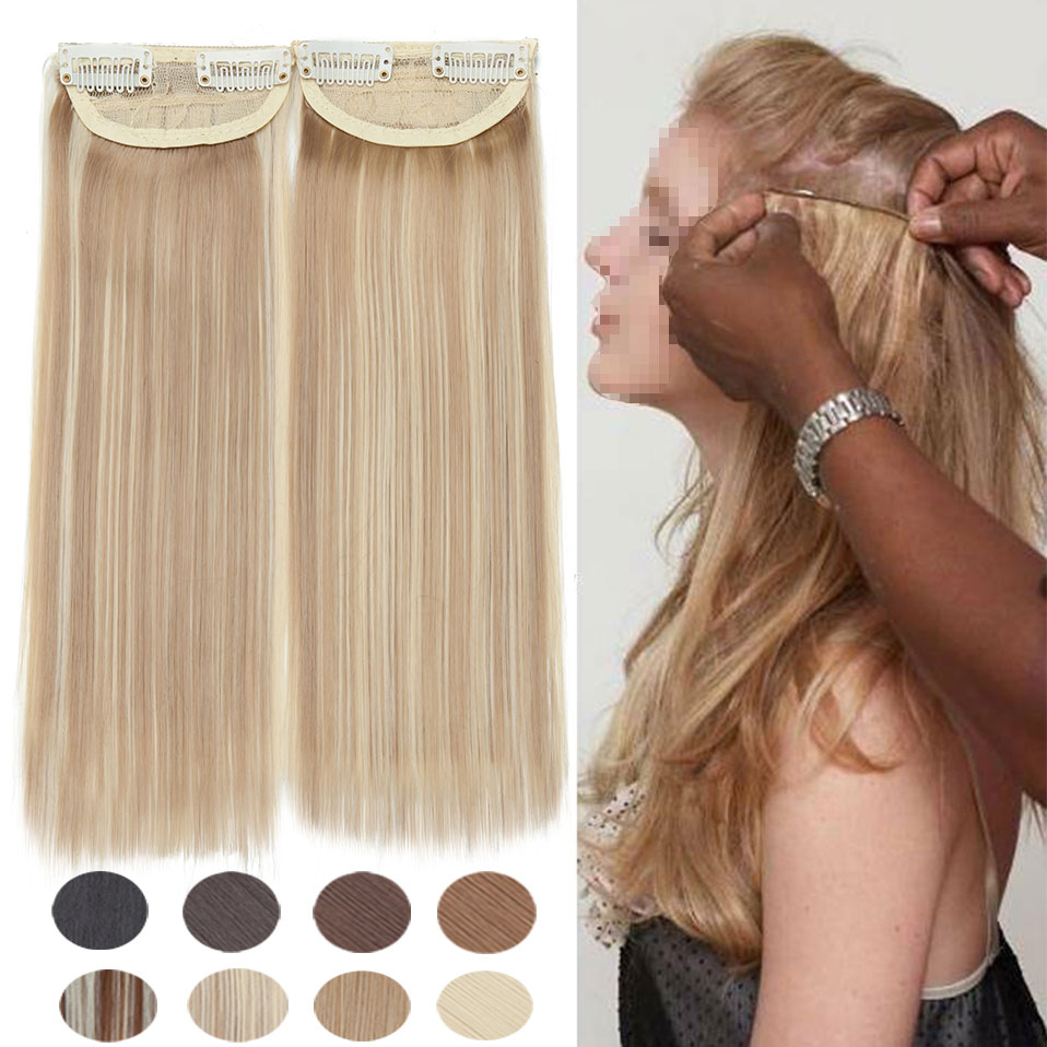 Snoilite clip in hair pad Seamless top invisible Piece Thickened Hair Root Pad synthetic straight hair natural fake hairpiece