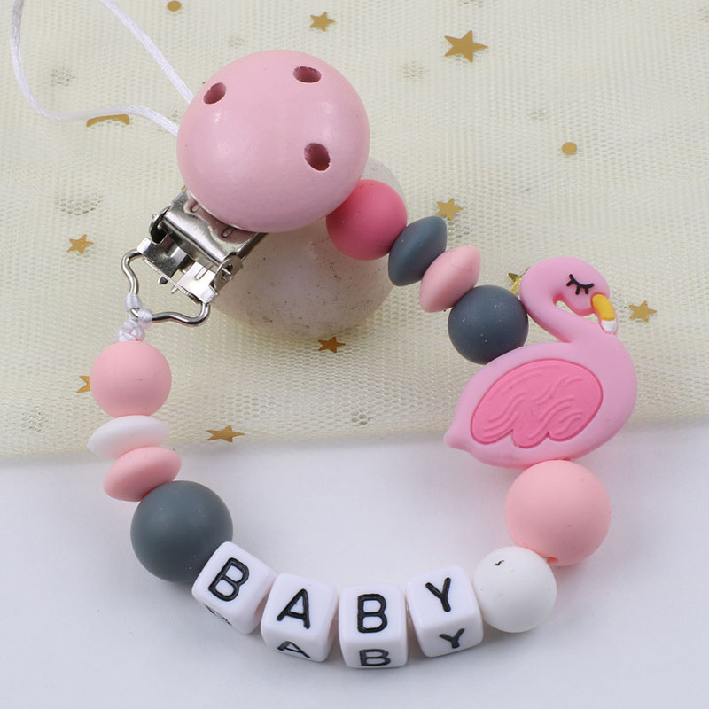 Personalized Name Pacifier Clips Chain Handmade Silicone Pacifier Chains Flamingo Silicone Beads Anti-drop Holder