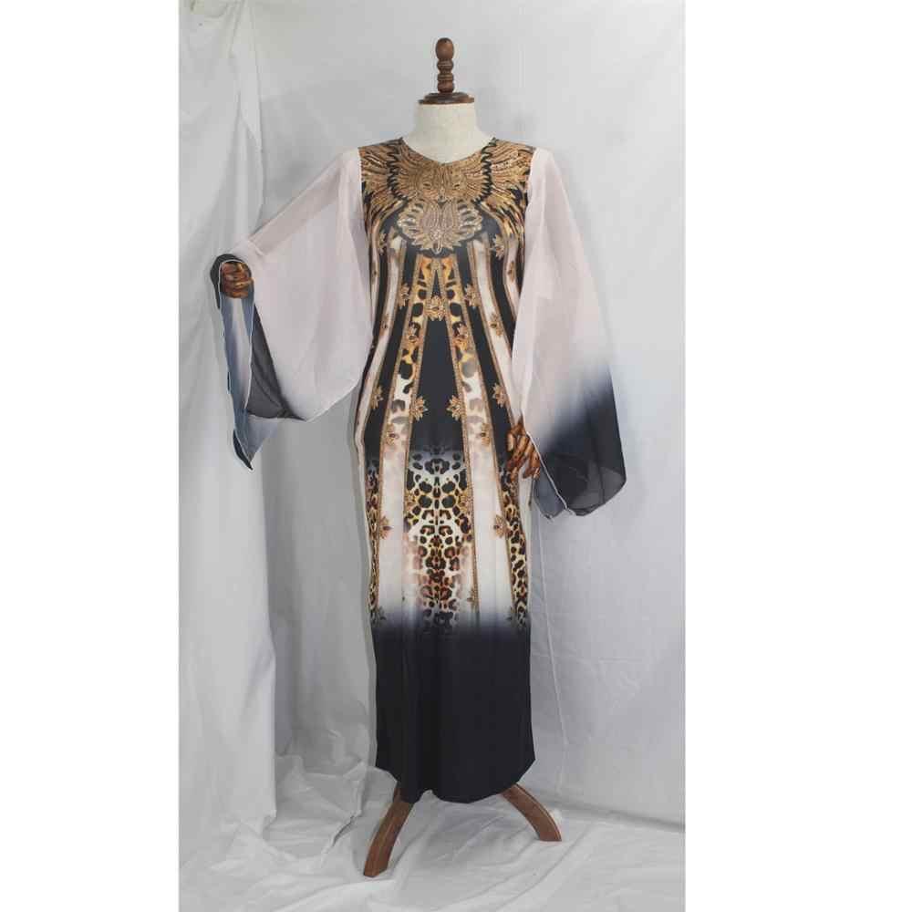 African Langen Kleid mit Chiffon-Hülse Große Elastische Dashiki Kleid Für Dame XFX02 #