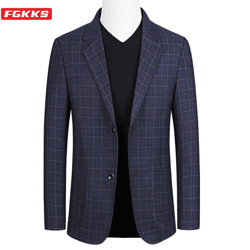 FGKKS Brand Men Fashion Blazers Spring Autumn New Men's Slim Fit Trend Wild Suit Jacket High Quality Casual Blazer Male