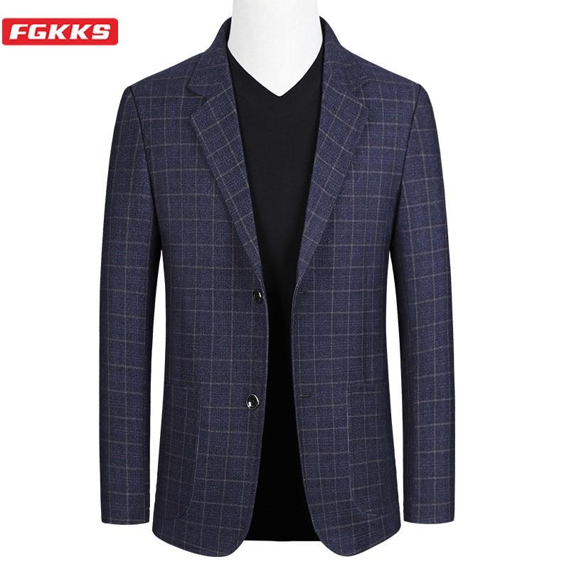 FGKKS Brand Men Fashion Blazers Spring Autumn New Men's Slim Fit Trend Wild Suit Jacket High Quality Casual Blazer Male