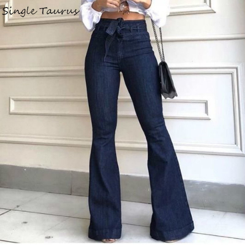 High Waist Bellbottom Jeans Streetwear Fashion Blue Jeans Femme Push Up Slim Denim Pants Women Mon Black Sexy Flare Jeans