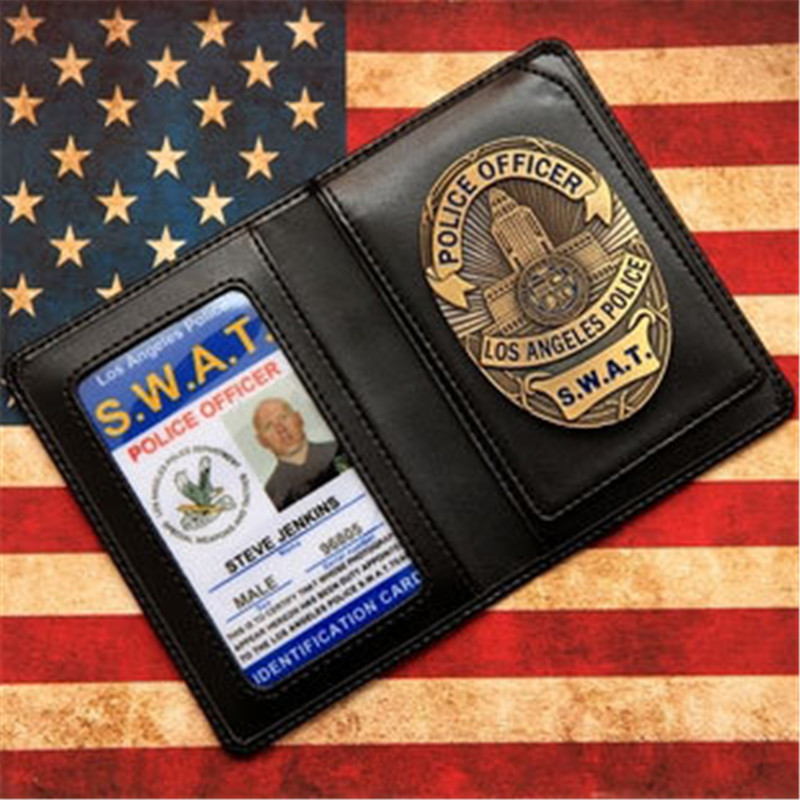 United States LA SWAT Badges Leather Case Holder ID Card Driving License Wallets Holder USA Movie LAPD Cosplay
