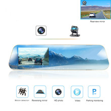 Car Dvr Camera Rearview-Mirror Video-Recorder Dash-Cam Car-Reverse-Image Dual-Lens Driving