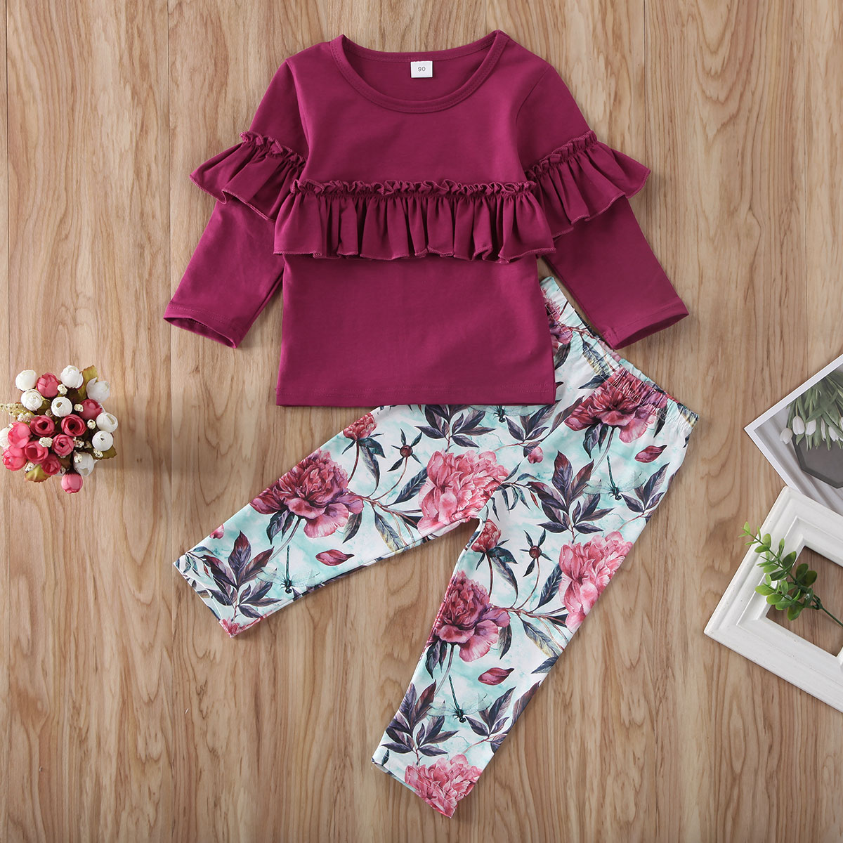 Pudcoco Toddler Baby Girl Clothes Solid Color Long Sleeve Ruffle Tops Flower Print Long Pants 2Pcs Outfits Cotton Clothes Set