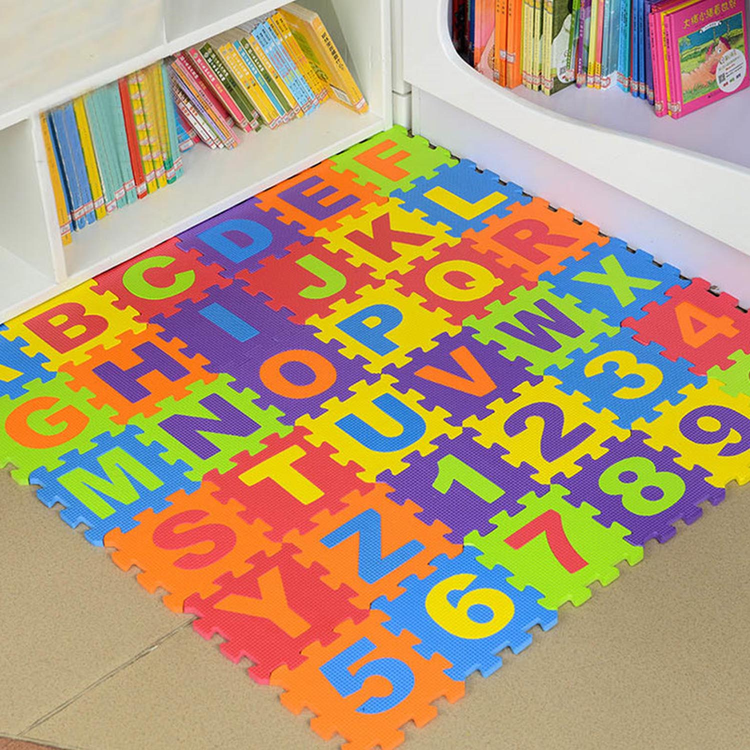 36PCS Kids Foam Alphabet Number Puzzle Mats Crawling Playmats Educational Toys For Toddlers Children Soft Pad Room Supplies