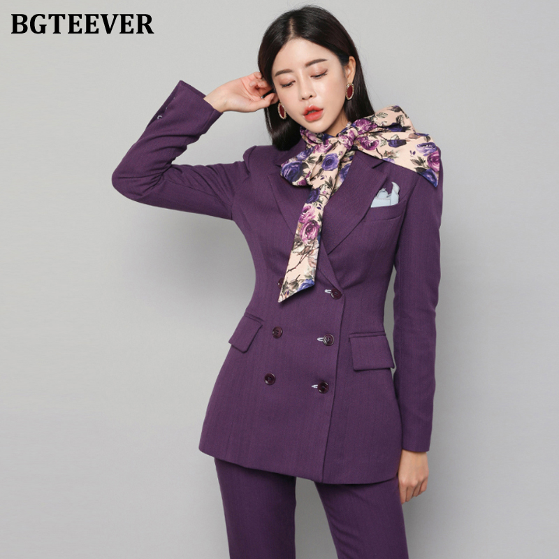 BGTEEVER Elegant Double-breasted Purple Women Pant Suit Slim Women Blazer Suit Set Female Workwear Trouser Suit 2019 Autumn