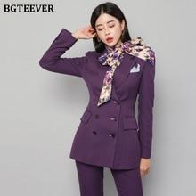 BGTEEVER Elegant Double-breasted Purple Women Pant Suit Slim Women Blazer