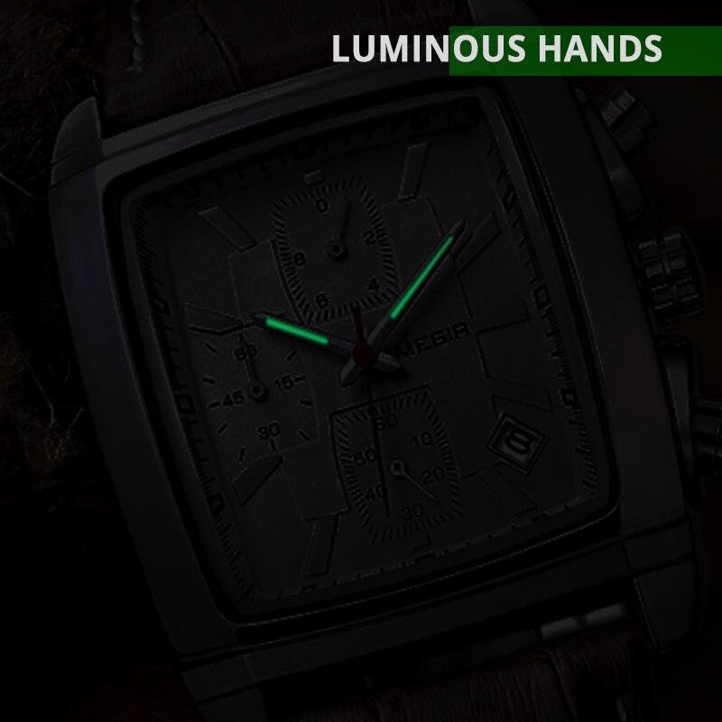 MEGIR Original Watch Men Top Brand Luxury Rectangle Quartz Military Watches Waterproof Luminous Leather Wristwatch Men Clock 3