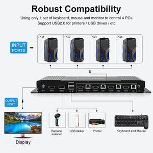 Image 2 - HDMI KVM Switch 4 Port 4K Ultra HD 4x1 HDMI KVM Switcher with 2 Pcs 5ft KVM Cables Supports Mechanical and Multimedia KVM USB2.0