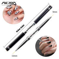 ANGNYA 1Pcs Doppel Kopf Nail Liner Pinsel 9/11mm Acryl Nail art Pinsel Zeichnung Linie Strass Stift nail art Maniküre Pinsel