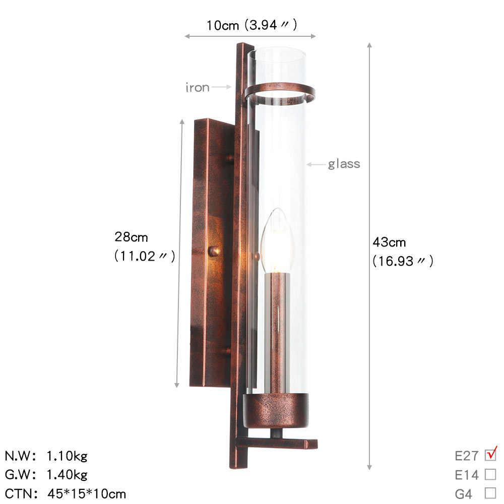 Черный антикварный настенный светильник из железного стекла Лофт Декор светодиодный бра, настенные светильники винтажная прикроватная настенная лампа для домашнего освещения