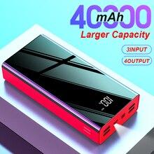 40000mAh Mirror Power Bank LED Digital Display PowerBank 2.1