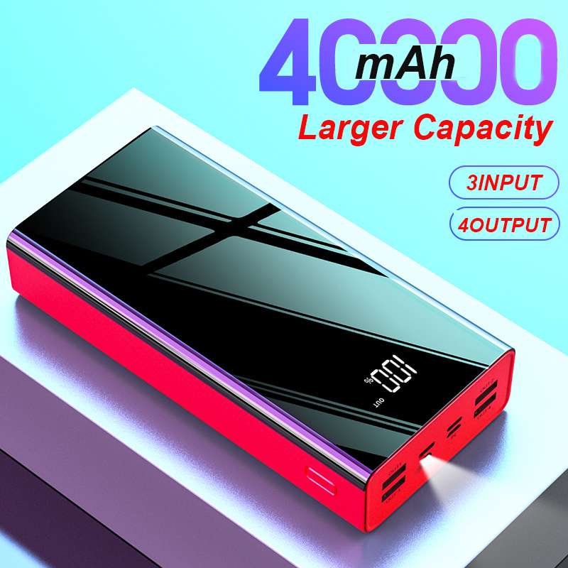 Power Bank 40000mAh External battery LED Display PowerBank 2.1A FAST CHARGING 4 USB OUTPUT Phone Charger For Phone Poverbank|Power Bank| |  - title=