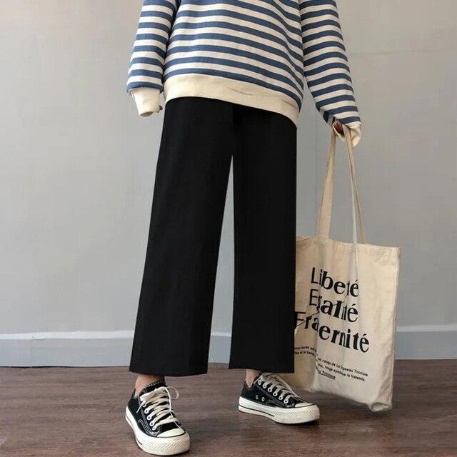 Cusual Pants Women Spring Summer Ankle-length Loose Wide Leg Elastic High Waist Oversize Black Simple Comfortable Elegant Ladies 1