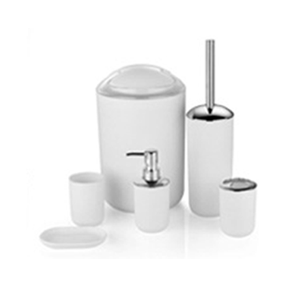 6pcs Toothbrush Holder Bathroom Accessories Set Large Capacity Soap Dispenser Home Waste Bin Toilet Brush Cup Plastic image