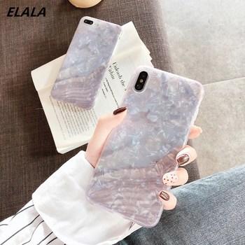 Funda de mármol brillante ELALA para iphone 6 7 8 Plus X XR XS Max, carcasa de concha divertida, funda de silicona epoxi brillante de TPU blando para iPhone 7
