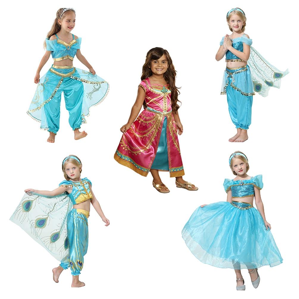 2019 Movie Girls Kid Summer Jasmine Princess Dance Dress Children Aladdin Halloween Party Performance Costume Top Skirt Pant Set(China)