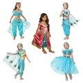 Детское летнее танцевальное платье принцессы жасмин из фильма для девочек, Детский костюм Aladdin на Хэллоуин, костюм для выступления, топ, юбк...