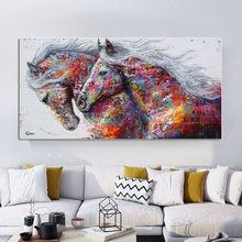 Pintura em tela selflessly de animais, arte de duas cavalos de corrida, pintura de parede, imagens para sala, arte abstrata moderna, posteres
