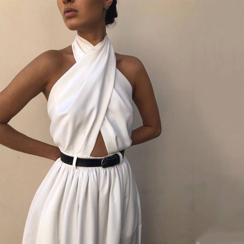 Sleeveless Hanging Neck Halter White Sexy Long   Jumpsuits   Women Fashion Casual Women   Jumpsuit   Elegant   Jumpsuit   No Belt