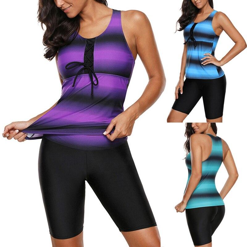 New Fashion Womens Two-pieces Bikini Set Swimsuit Plus Size 2020 Stripe Printed Push Up Swimwear Shorts Bathing Suit Swimwear