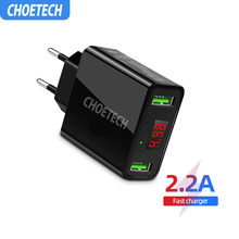 CHOETECH Dual USB Charger LED Display 5V 2.2A Smart Charging