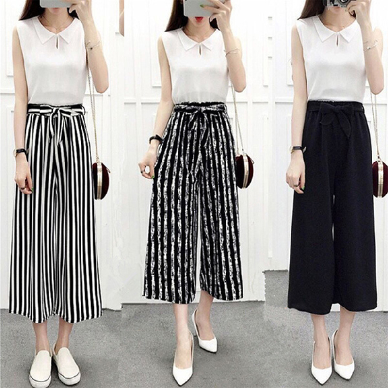 2019 New Fashion Womens Wide Leg High Waist Casual Summer Thin Pants Loose Culottes Trousers MSJ99
