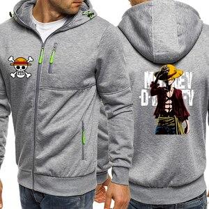 Image 3 - Luffy ONE PIECE Anime Series Hoodies Men Jacket 2019 Autumn Winter Casual Coat Harajuku Mens Hoodie Sweatshirts Hip Hop Hoody
