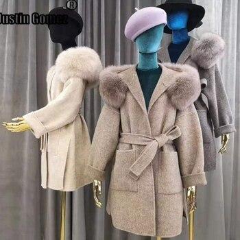 Abrigo de lana de Cachemira auténtica con capucha de piel de zorro...