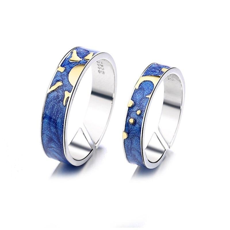 2 pièces Van Gogh bleu ciel étoilé anneau ouvert jour et nuit soleil et lune toujours penser vous amant anneaux bande romantique bijoux