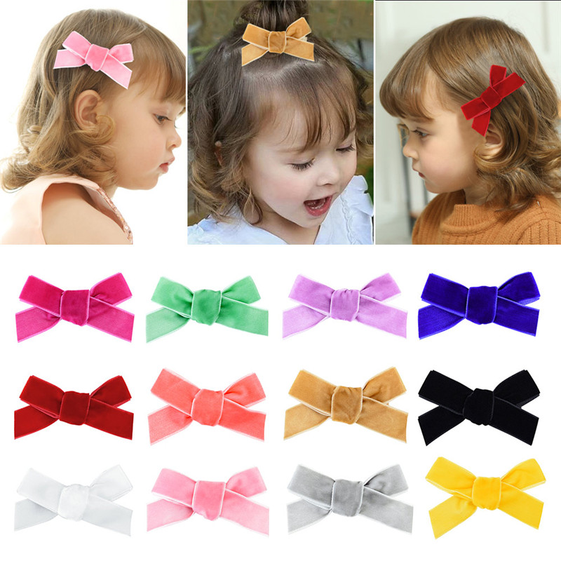 12Pcs/Lot 8CM Ribbon Bow Velvet Belt Hair Clip Hairpins For Kids Girls Handmade Baby Hairgrip Hairclips Photo Hair Accessories